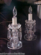 Vintage Antique Pair Etched Crystal Lamps with Prisms