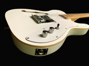 NEW 12 STRING TELE STYLE ARCTIC WHITE FINISH SEMI-HOLLOW BODY ELECTRIC GUITAR