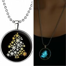 Santa Tree Xmas Glow in the Dark Stainless Steel Charm Silver Pendant Necklace