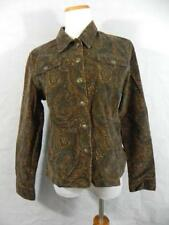 "DRESSBARN Womans Med Brown Paisley Corduroy JACKET Stretch autumn 40"" Bust f48"