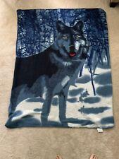 "Snowy Wolf Fleece Throw approx. 47"" x 59"""