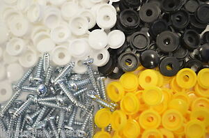 32 CAR NUMBER PLATE FIXING FITTING KIT SCREWS & CAPS WHITE YELLOW BLACK LICENSE