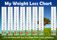 Weight Loss Chart A4 - 1 to 10 Stone - Slimming - Dieting - Goal Target Tracker