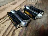 "Vintage Square Style Bicycle Pedal Block PVC Cruiser Pedals 1/2"" Black/Chrome"