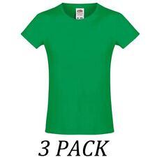 Vêtements verts à manches courtes pour fille de 2 à 16 ans en 100% coton
