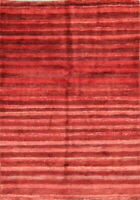 Vegetable Dye Stripe Red Modern 3x5 Gabbe Zolanvari Oriental Wool Rug