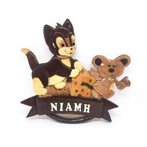 Cat and Mouse Personalised Handmade Childrens Wooden Door Plaque, Door Sign