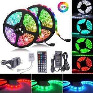 1m-30m RGB LED Strip Lights 5050 SMD Waterproof 12V 44key IR Controller Adapter