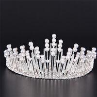 Perla Cristal tiara rhinestone pelo accesorios corona boda nupcial diad*ws