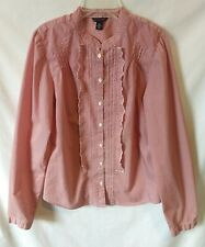 Womens Tommy Hilfiger Ruffled Front Striped Button Front Blouse Sz Medium Red