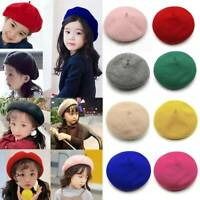 Girls Solid Color Beret Autumn Winter Children's Wool Hat Mori Female Literature
