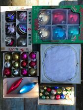 Lot of 5 boxes Shiny Brite, Holly Glass, U.S.A. Christmas Ornaments Vintage