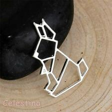 1 Silver Plated Rabbit Charms - Outline Bunny Pendants - Origami Bunny 27mm