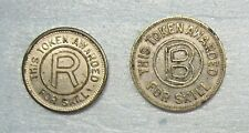 "Lot of 2 Amusement ""R"" & ""B"" Tokens Awarded for Skill - Coin"