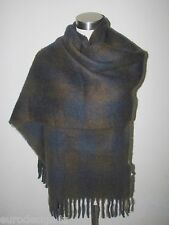 NWT AUTHENTIC ALTEA  WOOL BLEND SOFT UNISEX BROWN/NAVY KNIT SCARF Made in Italy