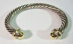 "David Yurman Sterling Silver & 14K Gold 7MM Classic Cable Cuff Bracelet 7"""