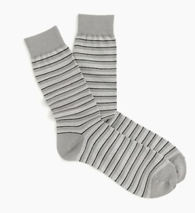 J Crew Dress Socks Mens Gray and Navy Blue Stripe Authentic One Pair Buy 2+ Save