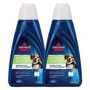 2 x Bissell Pet Stain & Odour Cleaner 1L, 2x Concentrated Formula.