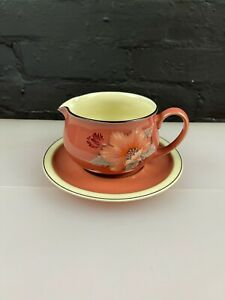 Denby Damask Gravy Boat Sauce Jug and Stand Saucer / Drip Plate