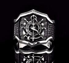 Turkish Handmade 925 Sterling Silver  RUDDER Onyx Mens Ring Sz 11 us Free Resize