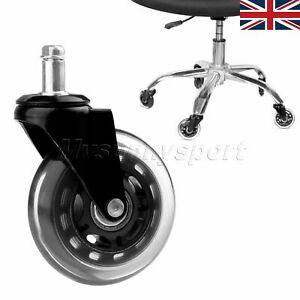 """3"""" Office Chair Caster Wheels Desk Rollerblade Replacement Rubber Clear/Black"""