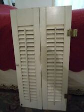 "2 Wood Shutters White w/ Movable Slats Each Panel 28"" H x 7"" W Hinged Together"