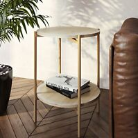Modern Sofa Side End Accent Table Round Display Shelves Gold Finish Metal Frame