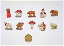 10 Stück Miniatur Tragant Christbaumschmuck - 1 Hälfte 20. Jahrhundert  (# 6544)