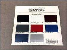 1987 Ford Car Merkur Xr4ti Exterior Color Paint Brochure guide