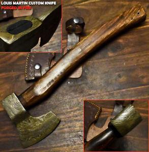 Louis Martin Custom Handmade Damascus Steel Walnut Wood Hunting Axe Knife Classy