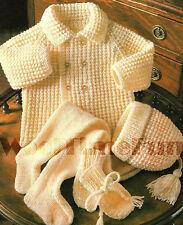 Knitting Pattern Baby Jacket, Hat, Mittens, Leggings. Pram Set.