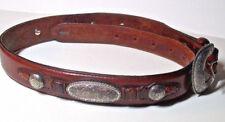 Beautiful southwest design ornate silver leather Justin womens belt  Sz 26!