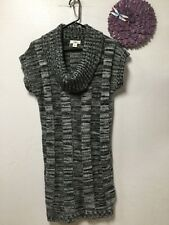 Ladies sweater dress sz large white gray black cowl neck all acetate new Cato 49