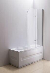 FRAMELESS DOUBLE PANEL BATH SCREEN (FIXED & SWINGING) - 1000x1600mm