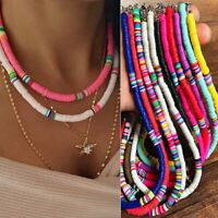 Multi-Color Boho Polymer Clay Choker Women Necklace Beads Round Flat Beach Retro