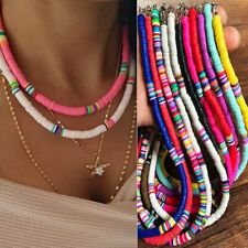 Multi-Color Boho Polymer Clay Choker Women Necklace Beads Round Flat Beach Retro