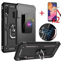 For Samsung Galaxy A10e Case With Holster Stand Belt Clip Glass Screen Protector