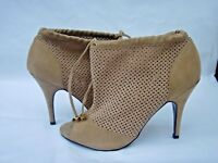 WORN ONCE NEXT RUNWAY COLLECTION SIZE 6.5 TAN SUEDE PEEP TOE ANKLE SHOE BOOT