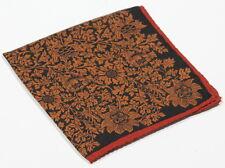 New Custom! Black/Orange Floral Hand Rolled Custom Silk & Wool Pocket Square
