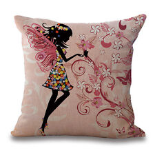"Fairy dancing Floral Print Butterflies 18""x18"" Decorative Pillow Cover Case"