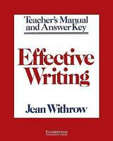 Effective Writing Teacher's Manual: Writing Skills for Intermediate Students of