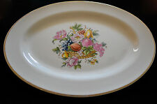 BAKERITE OVAL SERVING PLATE 22K GOLD RIM FRUITS & FLOWERS BASKET MADE IN USA