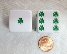 Dice>25mm *Lucky* Shamrocks -(1) Pair, (2) Dice - OP White w/Green Shamrock Pips