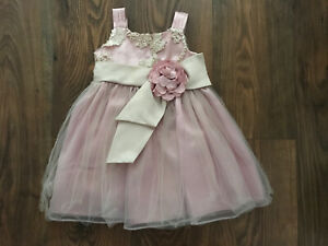 3-6 6-9 Bonnie Baby Dress Short Slv Sequins Pearls Ivory 0-3 18 or 24M #10690