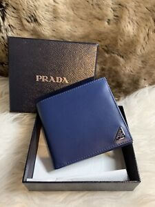 NWT AUTHENTIC Prada Mens Bifold Wallet In Blue Smooth Leather