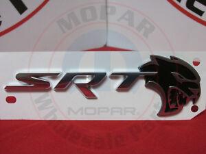 DODGE CHALLENGER HELLCAT Black & Silver SRT Decklid Nameplate Emblem OEM MOPAR