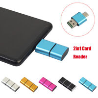 OTG Type C To USB 2.0 Micro SD TF Card Reader Adapter For Android Phone NEW