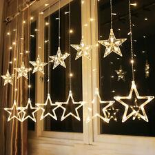 2m LED String Fairy Lights Curtain Net Wall Lamp 12 Stars Wedding Xmas Decor
