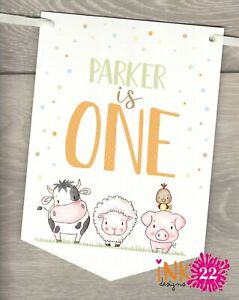 Personalised Birthday Farm Animals Party Decoration Banner Bunting 1st 2nd 3rd