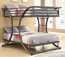 Contemporary Metal Kids Bunk Bed Full / Full Boy Girl Bedroom Bunk beds w/Ladder
